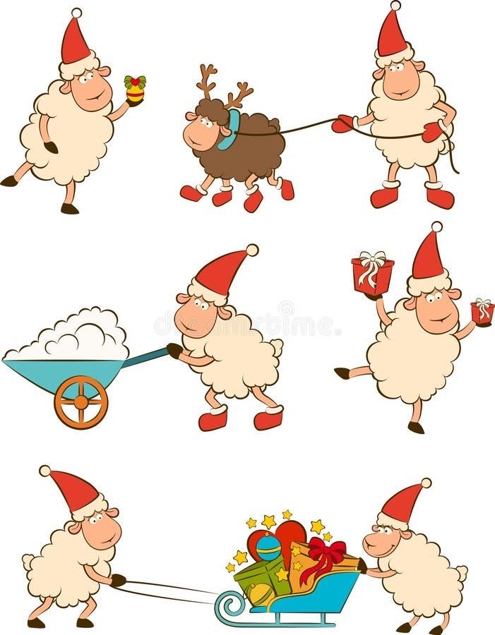Αστεία πρόβατα με τα δώρα. απεικόνιση αποθεμάτων