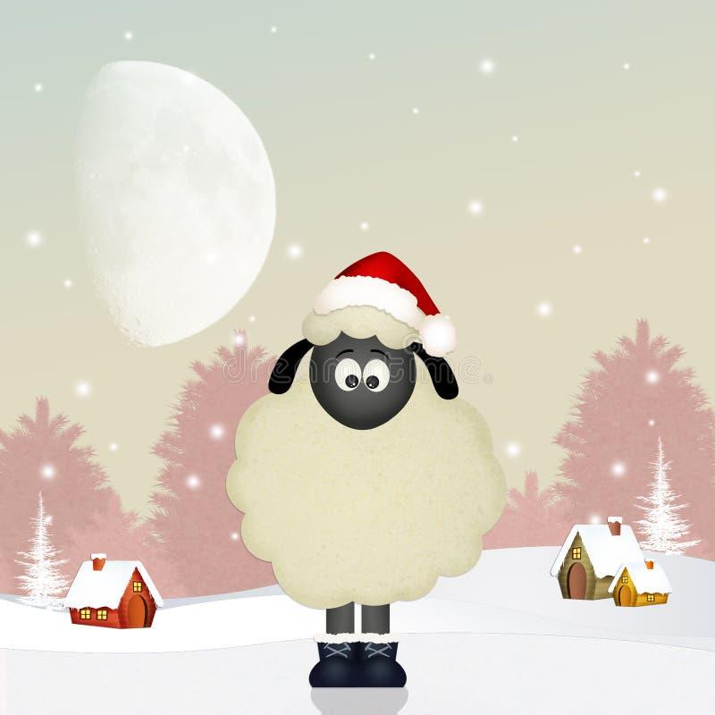 Αστεία πρόβατα στα Χριστούγεννα διανυσματική απεικόνιση