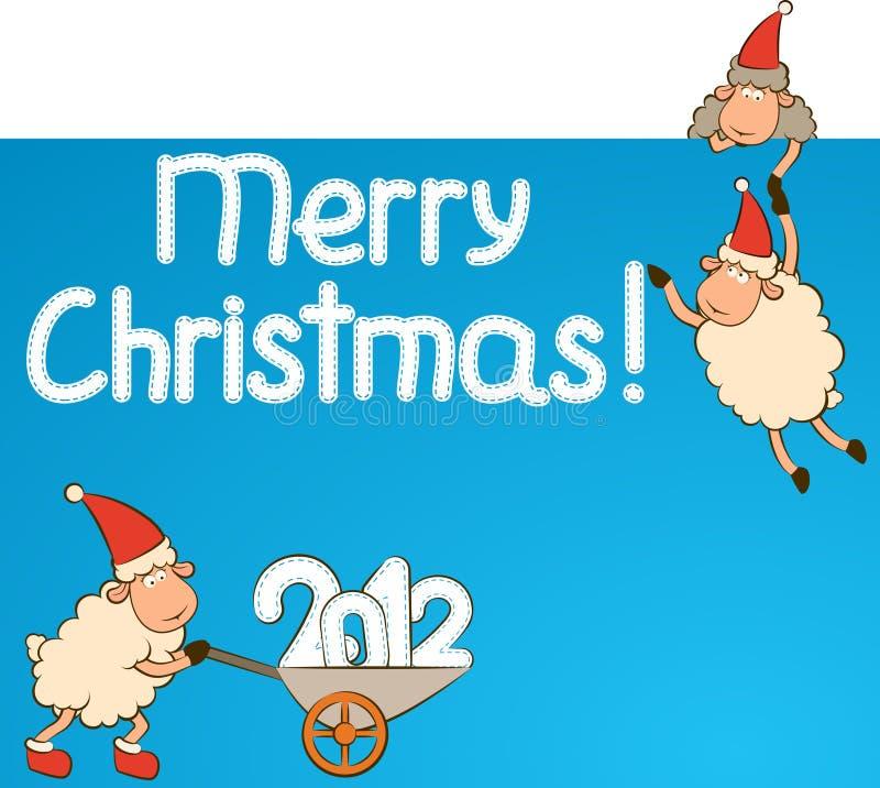 αστεία πρόβατα Χριστουγέ&n απεικόνιση αποθεμάτων