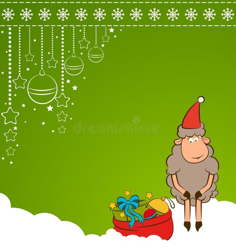 αστεία πρόβατα Χριστουγέ&nu διανυσματική απεικόνιση