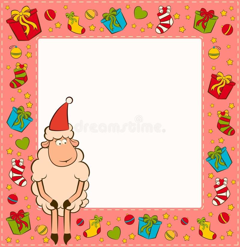 αστεία πρόβατα Χριστουγέ&nu απεικόνιση αποθεμάτων