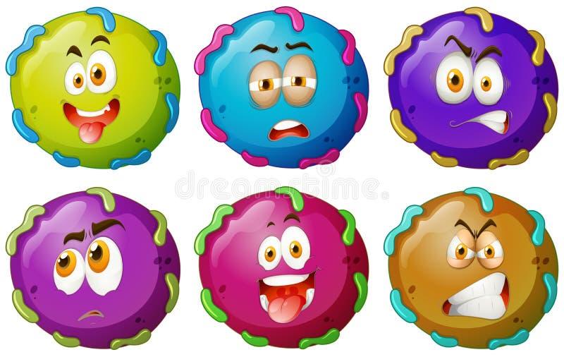 Αστεία πρόσωπα μικροβίων στο λευκό απεικόνιση αποθεμάτων