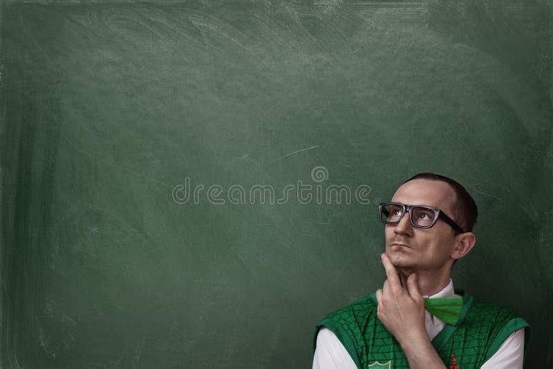 Αστεία σκέψη nerd στοκ φωτογραφίες