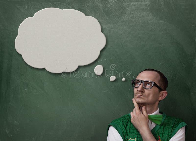 Αστεία σκέψη nerd στοκ εικόνα με δικαίωμα ελεύθερης χρήσης