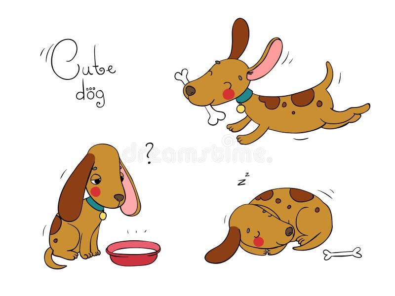 Αστεία σκυλιά κινούμενων σχεδίων ελεύθερη απεικόνιση δικαιώματος