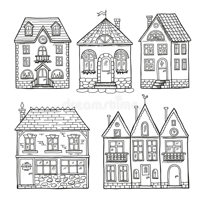 Αστεία σπίτια doodle Συρμένο χέρι διανυσματικό σύνολο απεικόνισης διανυσματική απεικόνιση
