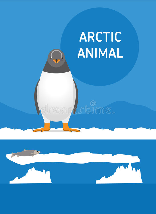 Αστεία συνεδρίαση penguin στο χιόνι Αρκτική ζώων Επίπεδο ύφος IL διανυσματική απεικόνιση