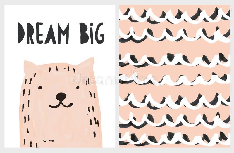 Αστεία συρμένη χέρι ρόδινη γάτα διανυσματικό Illustartion Μεγάλη αφίσα ονείρου διανυσματική απεικόνιση