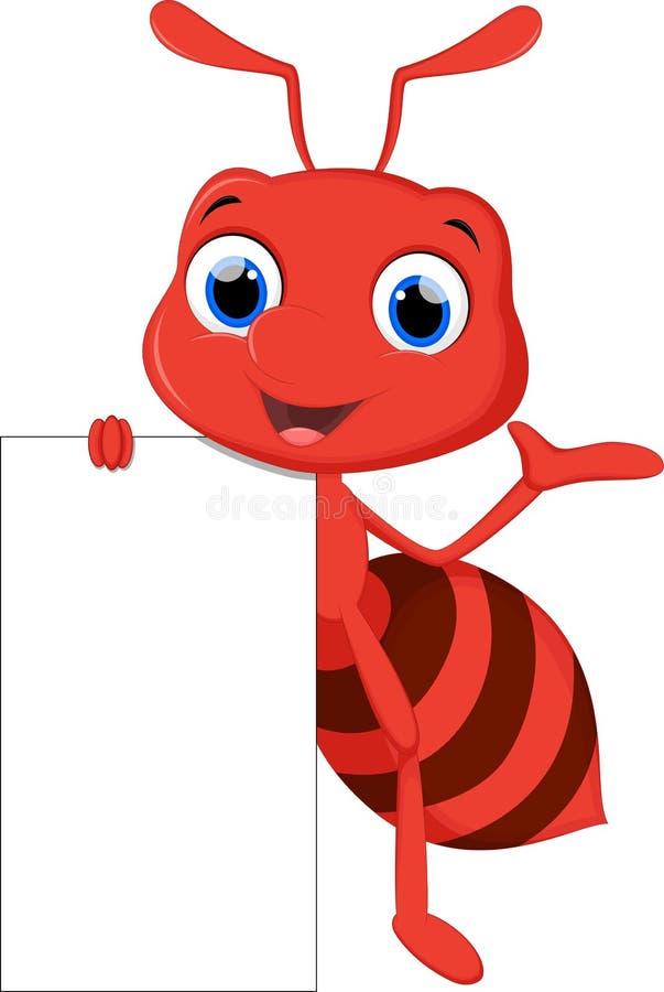 Αστεία τοποθέτηση κινούμενων σχεδίων μυρμηγκιών με το κενό σημάδι διανυσματική απεικόνιση