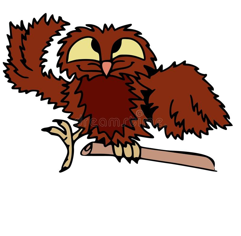 Αστεία τρελλή κουκουβάγια Ζώα και χαρακτήρες κινουμένων σχεδίων πουλιών που απομονώνονται στο λευκό στοκ εικόνα