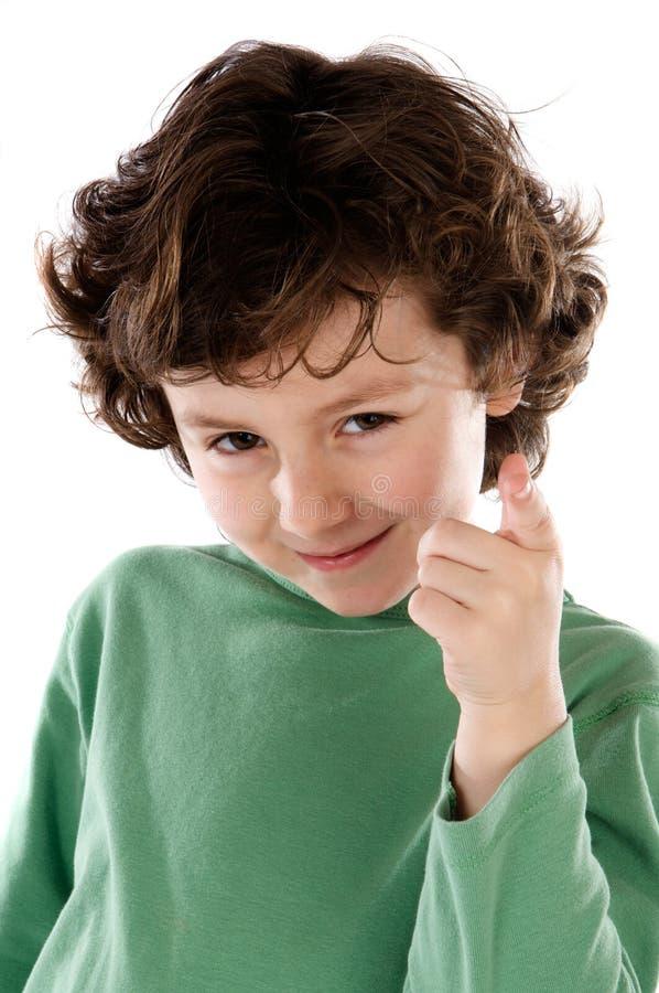 αστεία υπόδειξη δάχτυλων αγοριών στοκ εικόνες