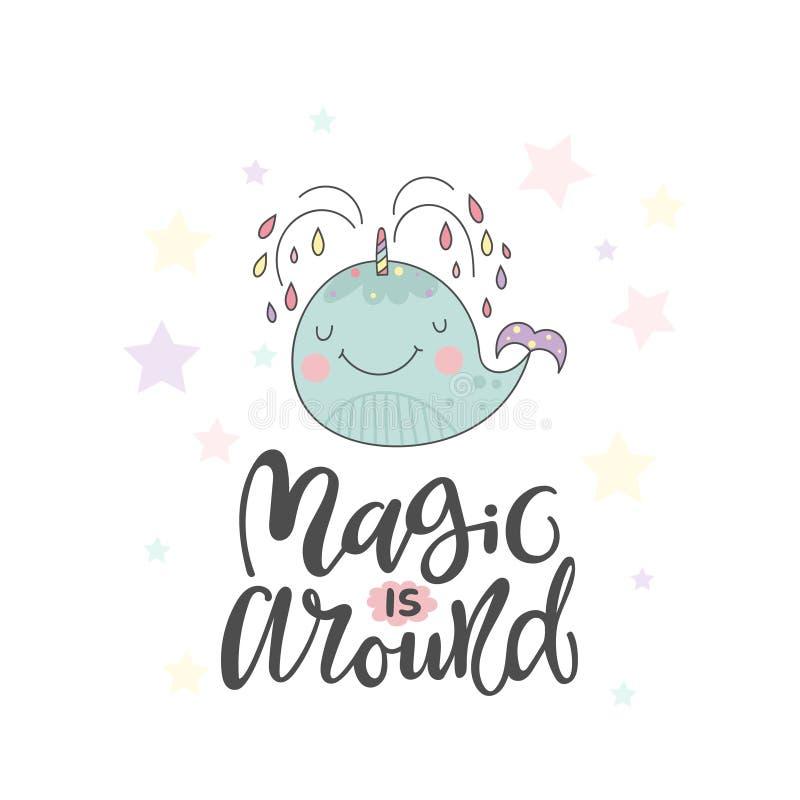 Αστεία φάλαινα και εγγραφή για μαγικό ελεύθερη απεικόνιση δικαιώματος