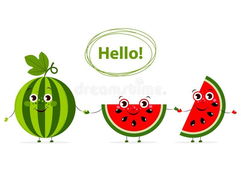 Αστεία φρούτα κινούμενων σχεδίων με τα μάτια στο επίπεδο ύφος Καρπούζι ελεύθερη απεικόνιση δικαιώματος