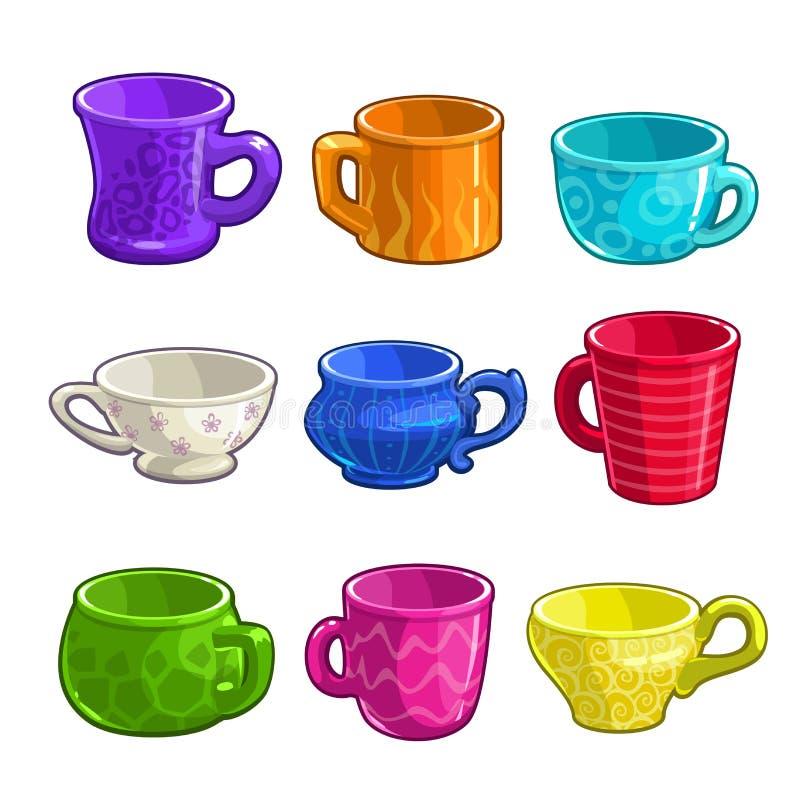 Αστεία φλυτζάνια τσαγιού και καφέ κινούμενων σχεδίων ζωηρόχρωμα διανυσματική απεικόνιση