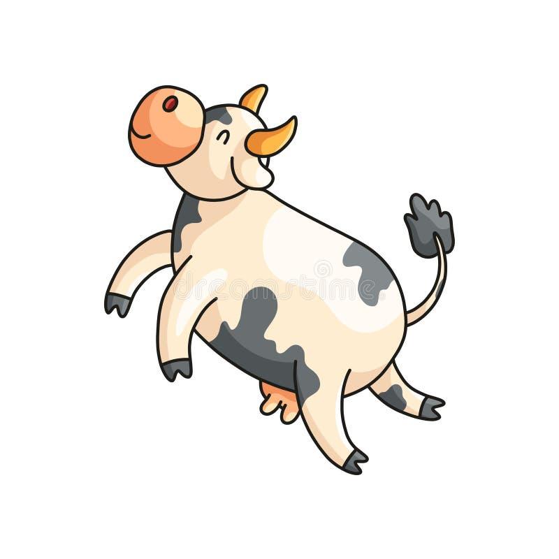 Αστεία χαμόγελο επισημασμένη αγελάδα με κλειστό μάτια να ονειρευτεί που απομονώνεται στο λευκό απεικόνιση αποθεμάτων