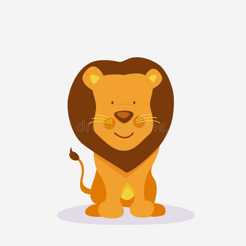 Αστεία χαριτωμένα κινούμενα σχέδια λιονταριών διανυσματική απεικόνιση