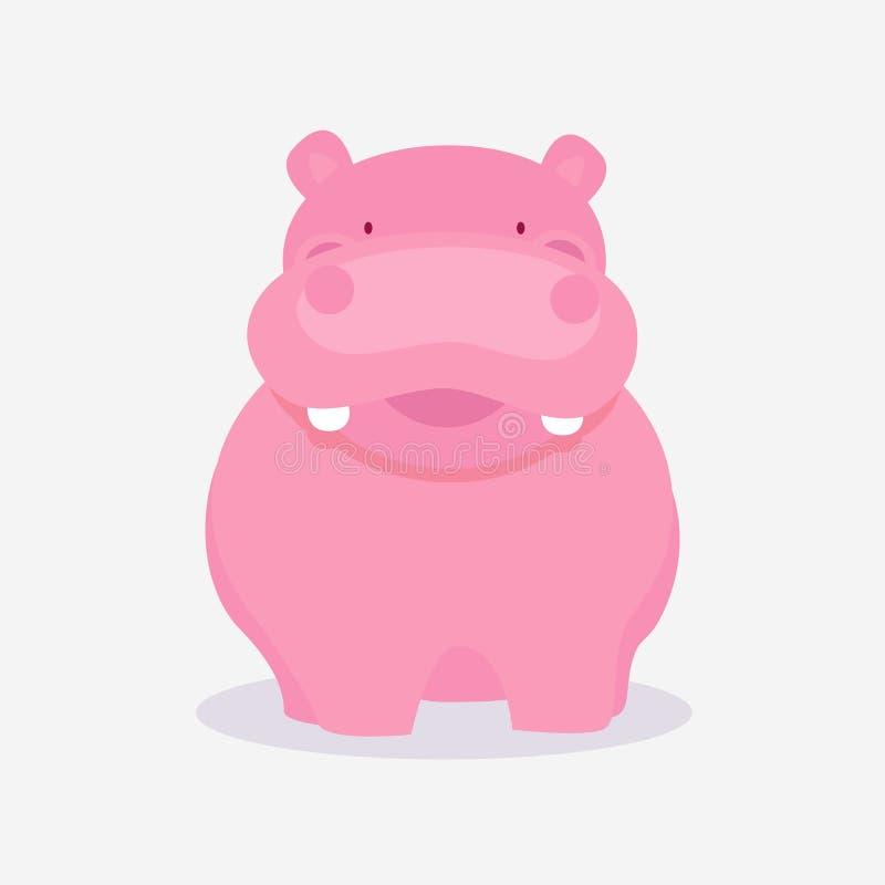 Αστεία χαριτωμένα κινούμενα σχέδια του hippopotamus απεικόνιση αποθεμάτων