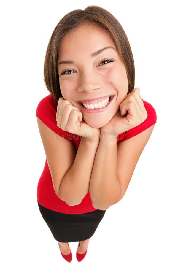Αστεία χαριτωμένη συγκινημένη γυναίκα που απομονώνεται στοκ φωτογραφία με δικαίωμα ελεύθερης χρήσης