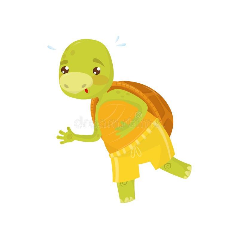 Αστεία χελώνα στα κίτρινα αθλητικά σορτς στο jogging τρέξιμο πρωινού Πράσινο ερπετό με το καφετί κοχύλι Επίπεδο διάνυσμα για διανυσματική απεικόνιση