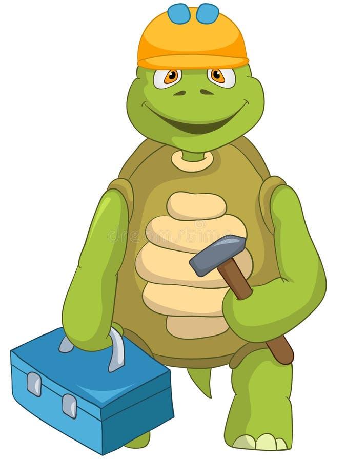 Αστεία χελώνα. Ανάδοχος. απεικόνιση αποθεμάτων