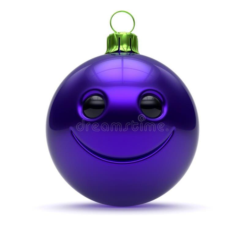 Αστεία Χριστουγέννων σφαιρών κινούμενα σχέδια μπιχλιμπιδιών Παραμονής Πρωτοχρονιάς προσώπου μπλε διανυσματική απεικόνιση