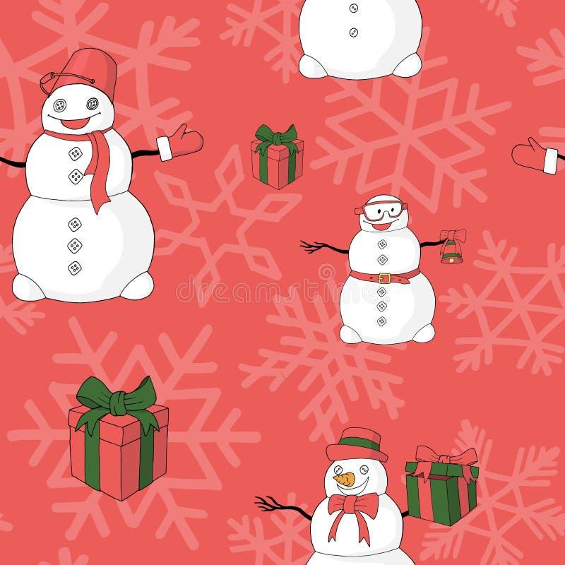 Αστεία snowmans, giftboxes και snowflakes διανυσματικό σχέδιο ελεύθερη απεικόνιση δικαιώματος