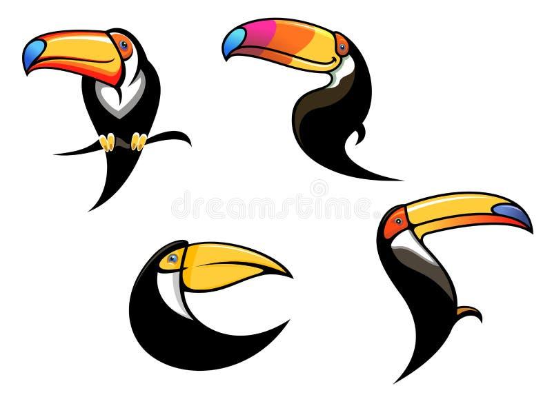 Αστεία toucan μασκότ και σύμβολα διανυσματική απεικόνιση