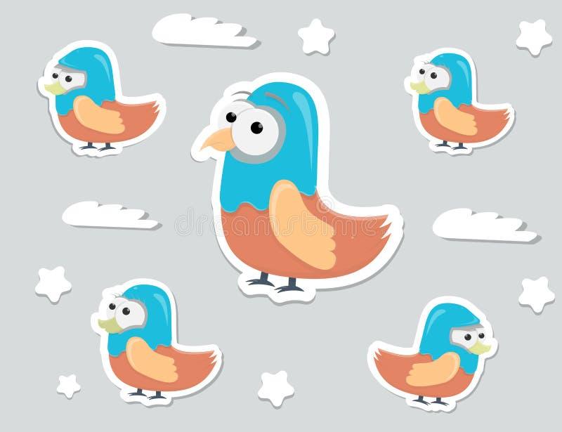 Αστείες αυτοκόλλητες ετικέττες πουλιών χαρακτήρα κινουμένων σχεδίων, διανυσματικά στοιχεία για το παιχνίδι ή την τυπωμένη ύλη διανυσματική απεικόνιση