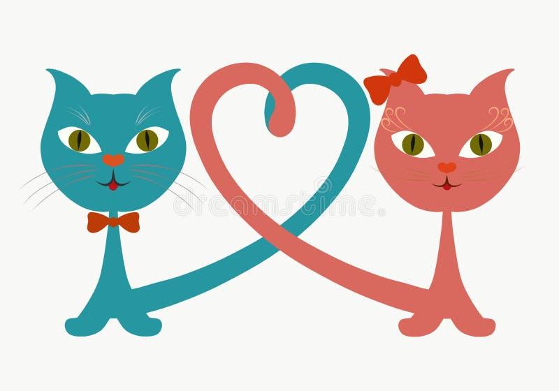 Αστείες γατάκια και καρδιά αγάπης ελεύθερη απεικόνιση δικαιώματος