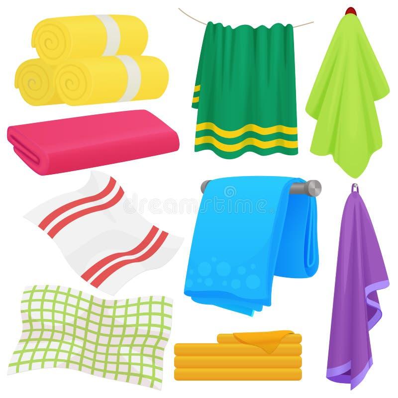 Αστείες διανυσματικές πετσέτες κινούμενων σχεδίων Πετσέτα βαμβακιού υφασμάτων για το λουτρό Πετσέτα υφάσματος για την υγιεινή απεικόνιση αποθεμάτων