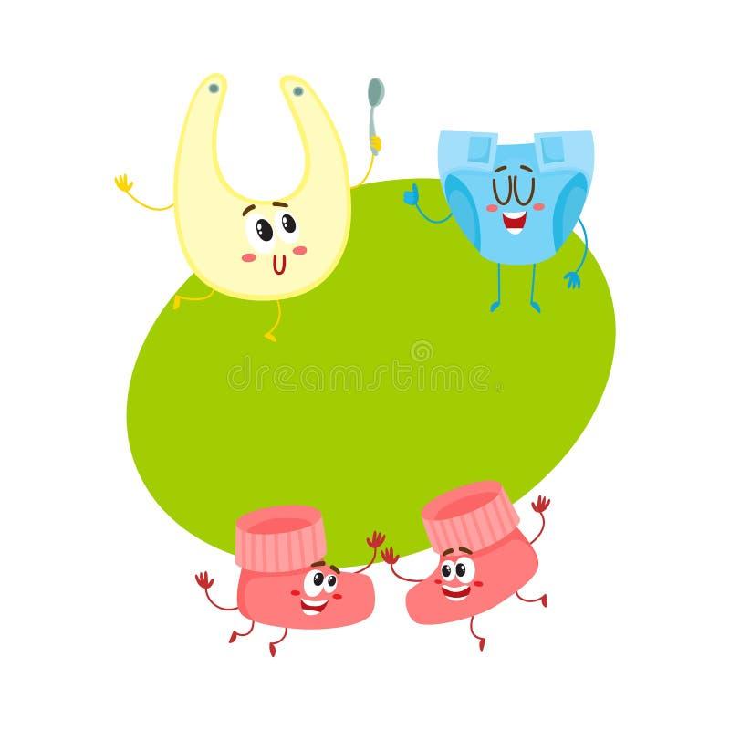 Αστείες λείες μωρών, πάνα, χαρακτήρες των ετερόφθαλμων γάδων, ενδύματα νηπίων, φροντίδα των παιδιών απεικόνιση αποθεμάτων