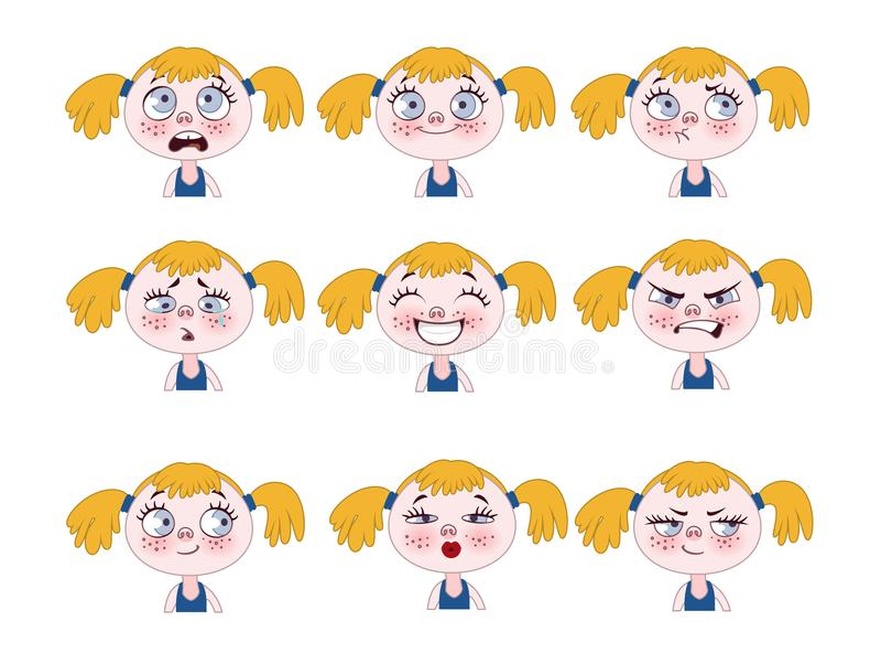 Αστείες εκφράσεις μικρών κοριτσιών καθορισμένες Χαριτωμένα πρόσωπα κοριτσιών που παρουσιάζουν διαφορετικές συγκινήσεις απεικόνιση αποθεμάτων