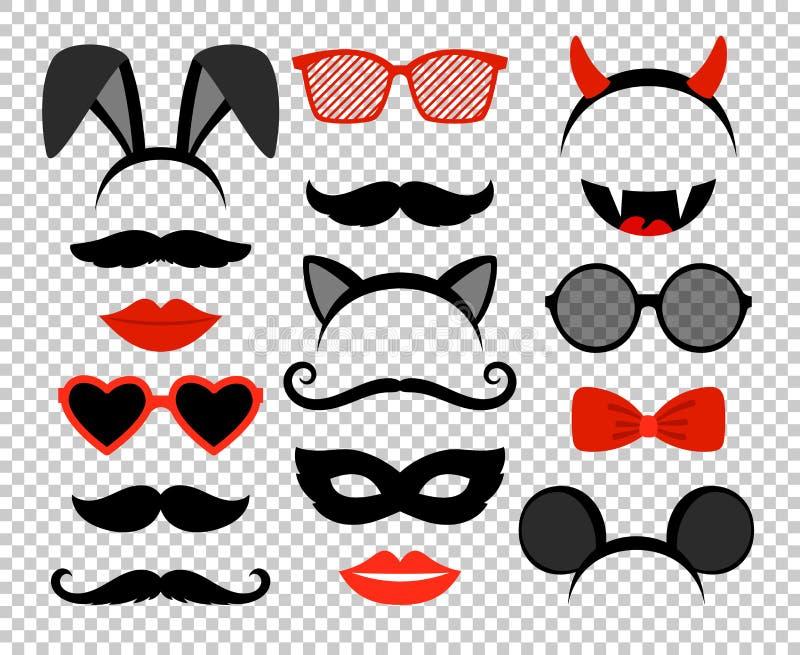 Αστείες μάσκες Σύνολο μασκών μεταμφιέσεων, γυαλιά και mustache, αυτιά κουνελιών και ποντικιών, δόντια, χείλια και κέρατα απεικόνιση αποθεμάτων