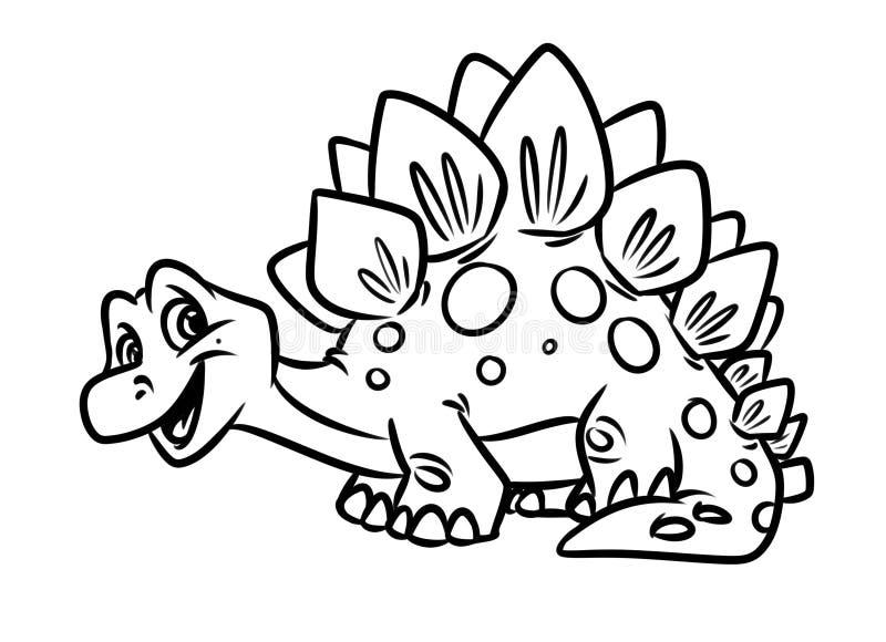 Αστείες χρωματίζοντας σελίδες ιουρασικής περιόδου δεινοσαύρων Stegosaurus ελεύθερη απεικόνιση δικαιώματος