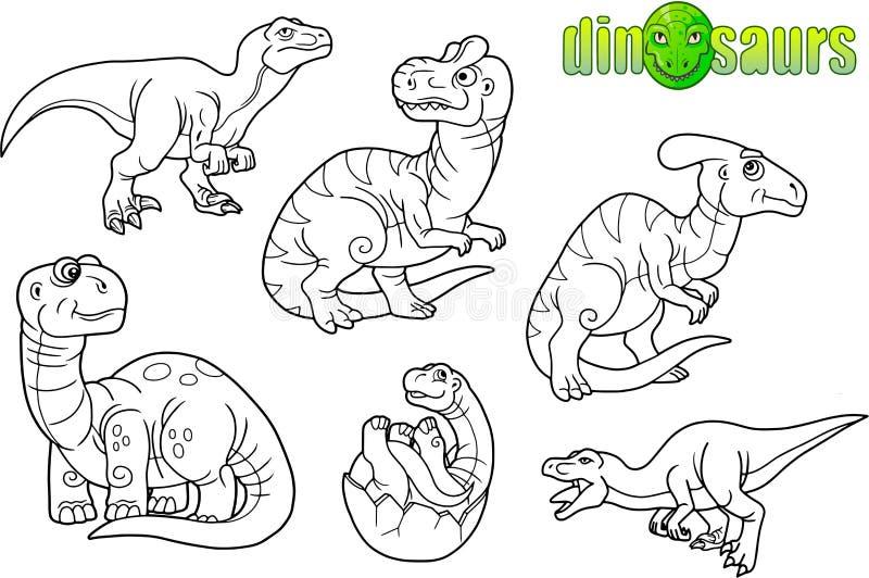 Αστείοι δεινόσαυροι, σύνολο εικόνων διανυσματική απεικόνιση