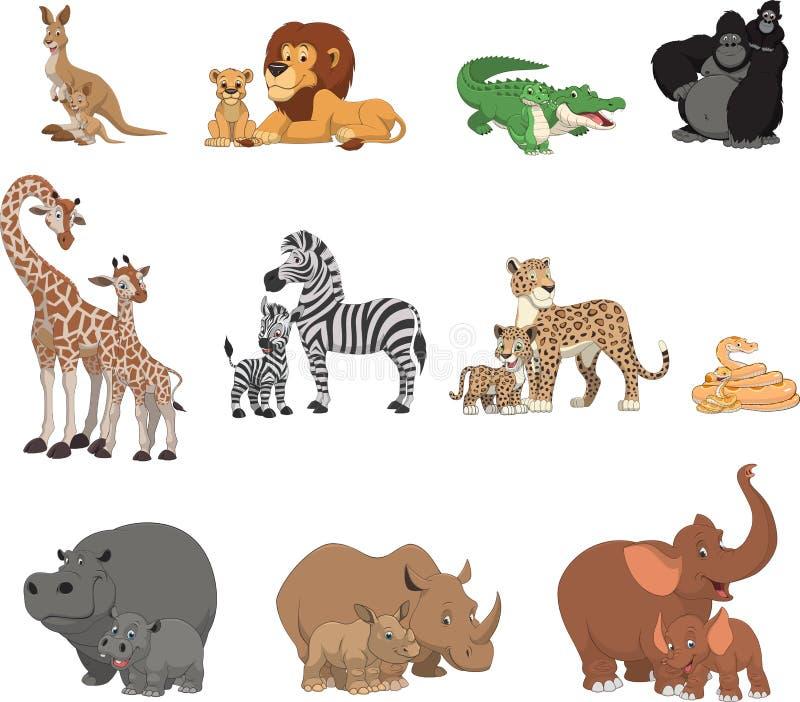 Αστείοι ζώα και γονείς παιδιών διανυσματική απεικόνιση