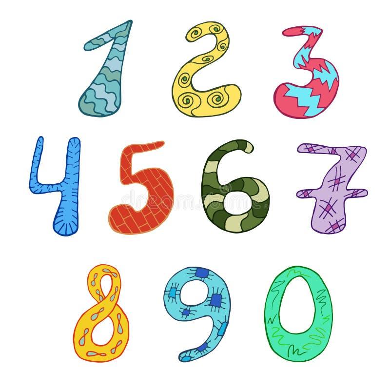 Αστείοι χαρακτήρες κινουμένων σχεδίων αριθμών επίσης corel σύρετε το διάνυσμα απεικόνισης ελεύθερη απεικόνιση δικαιώματος