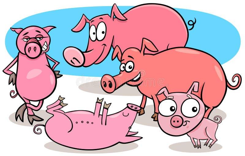 Αστείοι χαρακτήρες κινουμένων σχεδίων ζώων αγροκτημάτων χοίρων ελεύθερη απεικόνιση δικαιώματος
