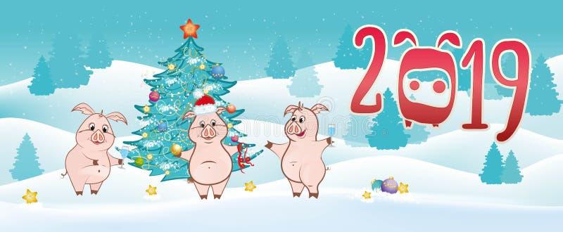 Αστείοι χοίροι κοντά στο χριστουγεννιάτικο δέντρο στο υπόβαθρο κοντά στην επιγραφή 2019 απεικόνιση αποθεμάτων