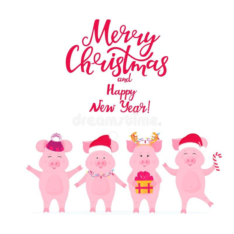 Αστείοι χοίροι στα καπέλα Santa με ένα δώρο Piggy με τα κέρατα ελαφιών Χριστούγεννα καρτών που χ&a ελεύθερη απεικόνιση δικαιώματος
