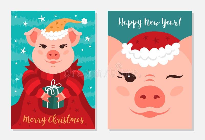 Αστείοι χοίροι Χριστουγέννων, Χαρούμενα Χριστούγεννα και νέο έτος 2019 ευχετήριων καρτών επίσης corel σύρετε το διάνυσμα απεικόνι απεικόνιση αποθεμάτων