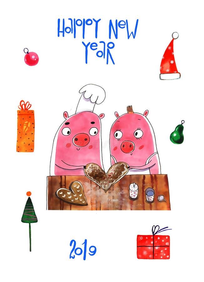 Αστείοι χοίροι Χριστουγέννων, Χαρούμενα Χριστούγεννα και νέο έτος 2019 ευχετήριων καρτών Χοίρος Άγιος Βασίλης, κάρτες Χριστουγένν διανυσματική απεικόνιση