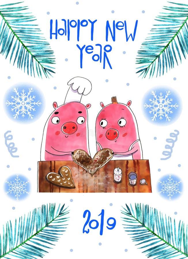 Αστείοι χοίροι Χριστουγέννων, Χαρούμενα Χριστούγεννα και νέο έτος 2019 ευχετήριων καρτών Χοίρος Άγιος Βασίλης, κάρτες Χριστουγένν ελεύθερη απεικόνιση δικαιώματος