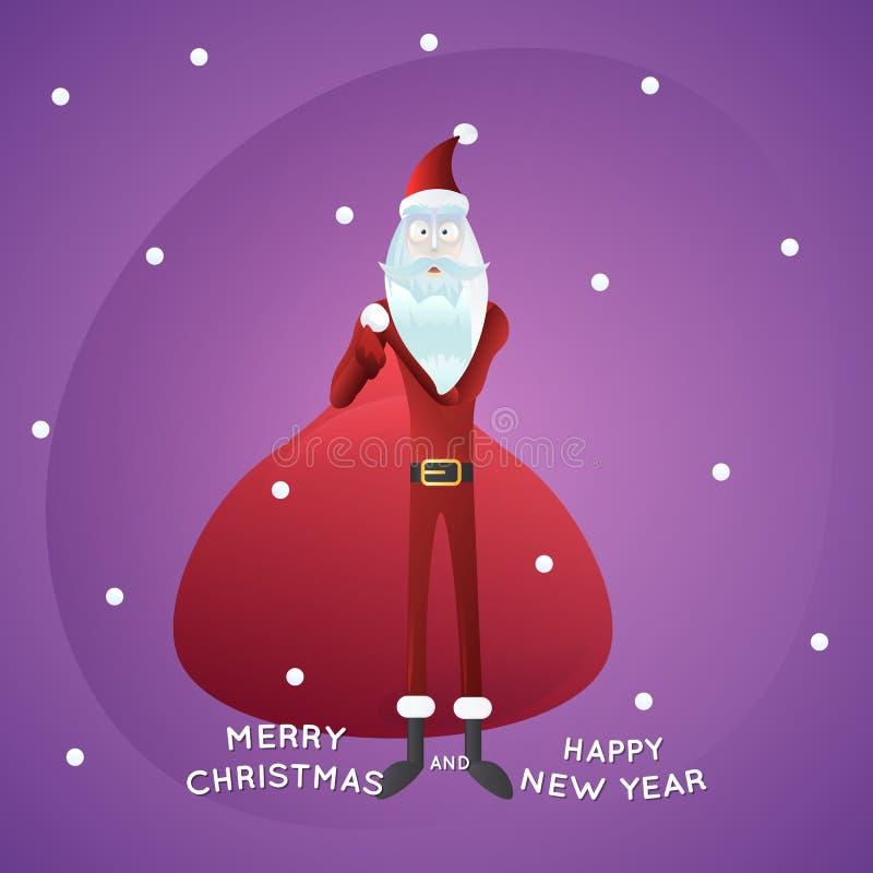 Αστείος Άγιος Βασίλης με τη μεγάλη τσάντα, χιονοπτώσεις στο υπόβαθρο, Χαρούμενα Χριστούγεννα και καλή χρονιά, ελεύθερη απεικόνιση δικαιώματος