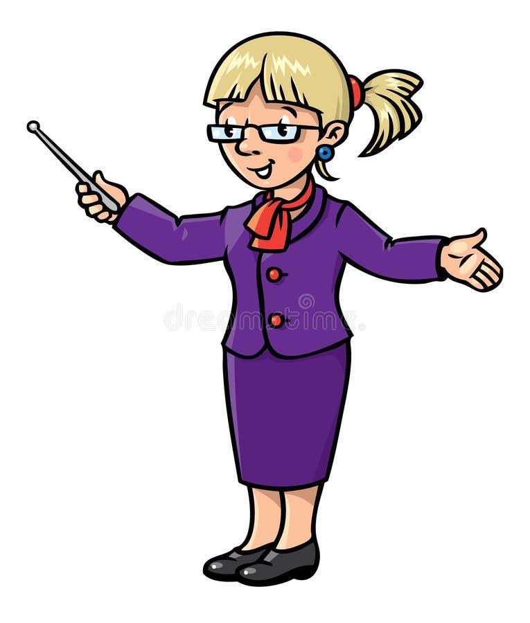 Αστείος δάσκαλος με το δείκτη Σειρά επαγγέλματος απεικόνιση αποθεμάτων