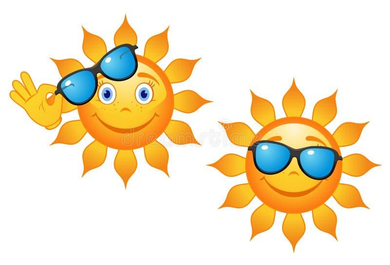 Αστείος ήλιος στα γυαλιά ηλίου διανυσματική απεικόνιση
