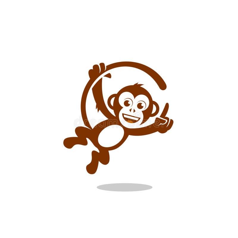 Αστείος λίγος χιμπατζής πιθήκων επίσης corel σύρετε το διάνυσμα απεικόνισης διανυσματική απεικόνιση