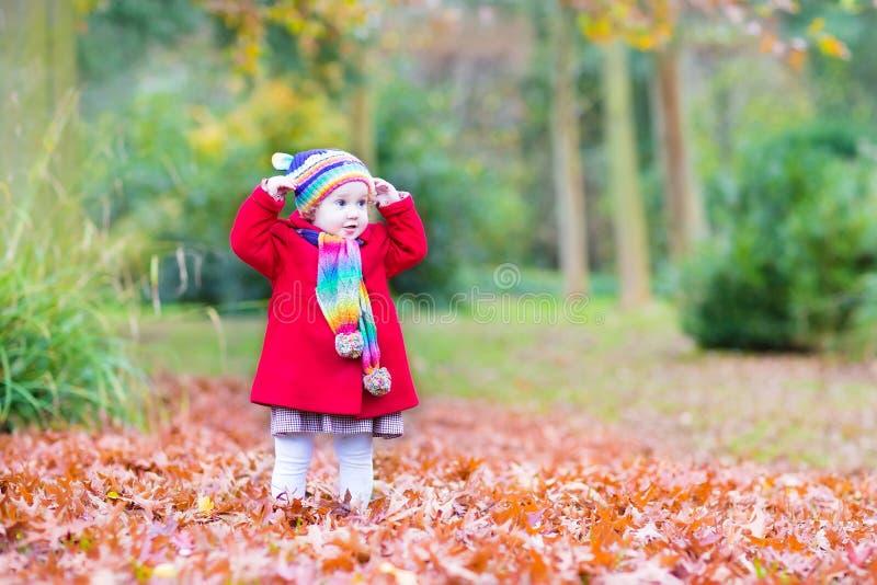 Αστείος λίγο κορίτσι μικρών παιδιών που παίζει στο πάρκο φθινοπώρου στοκ εικόνες