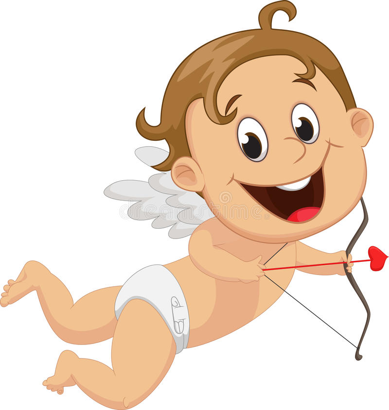 Αστείος λίγο Cupid με το τόξο και το βέλος απεικόνιση αποθεμάτων