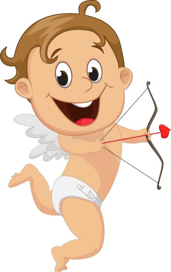 Αστείος λίγο Cupid με το τόξο και το βέλος διανυσματική απεικόνιση